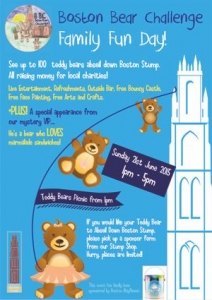 Teddy Bears abseil down Boston Stump.