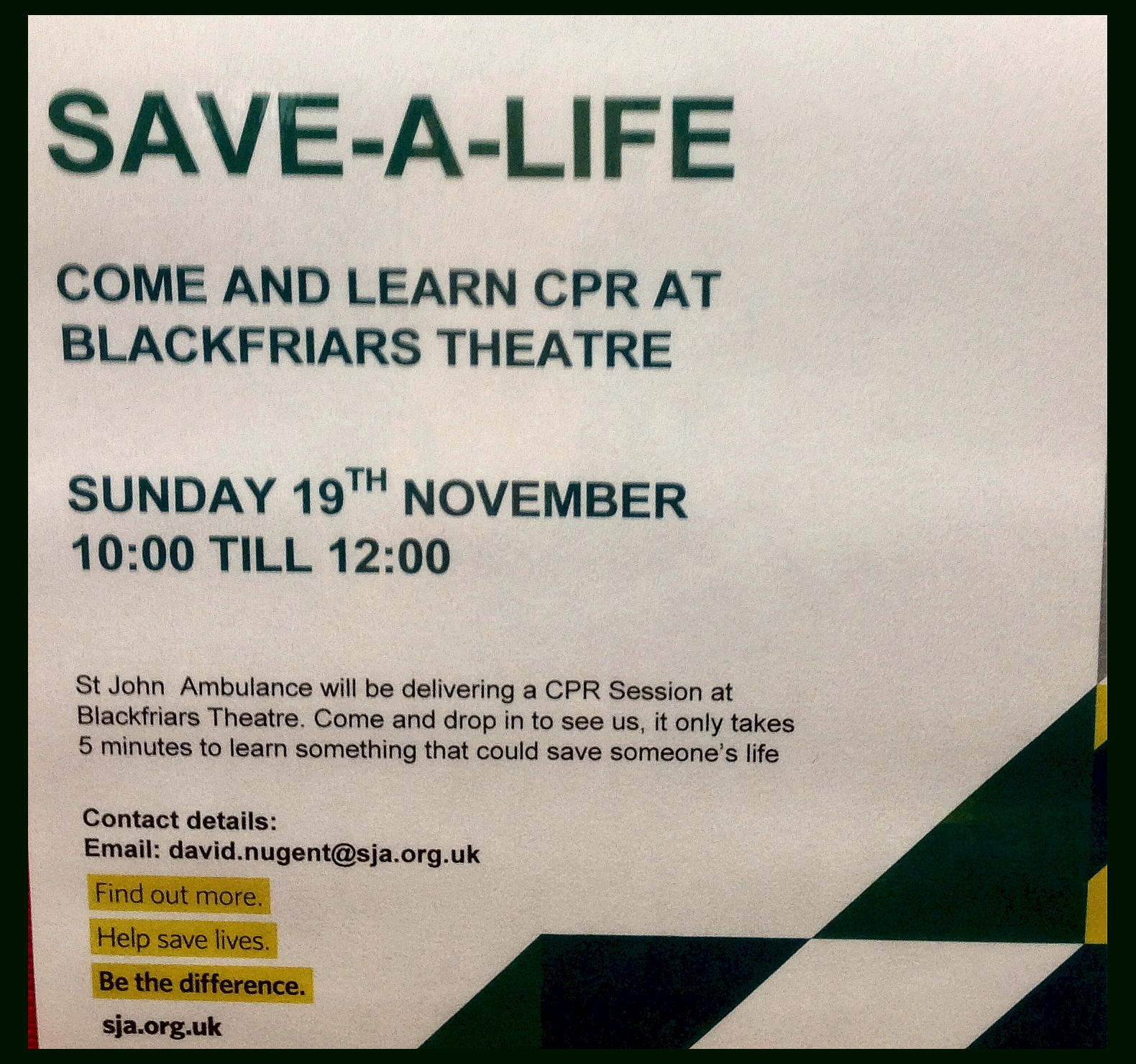 SAVE-A-LIFE Sunday 19th November
