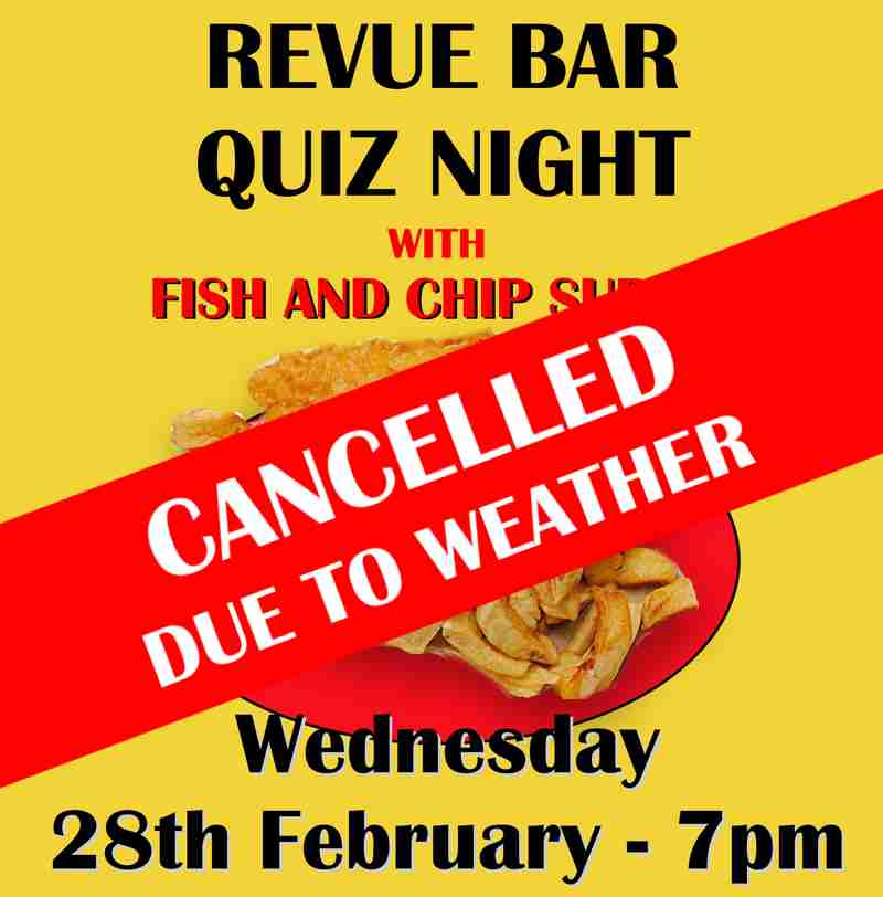 Quiz Evening with Fish and Chip supper - Wed 28th Feb - CANCELLED