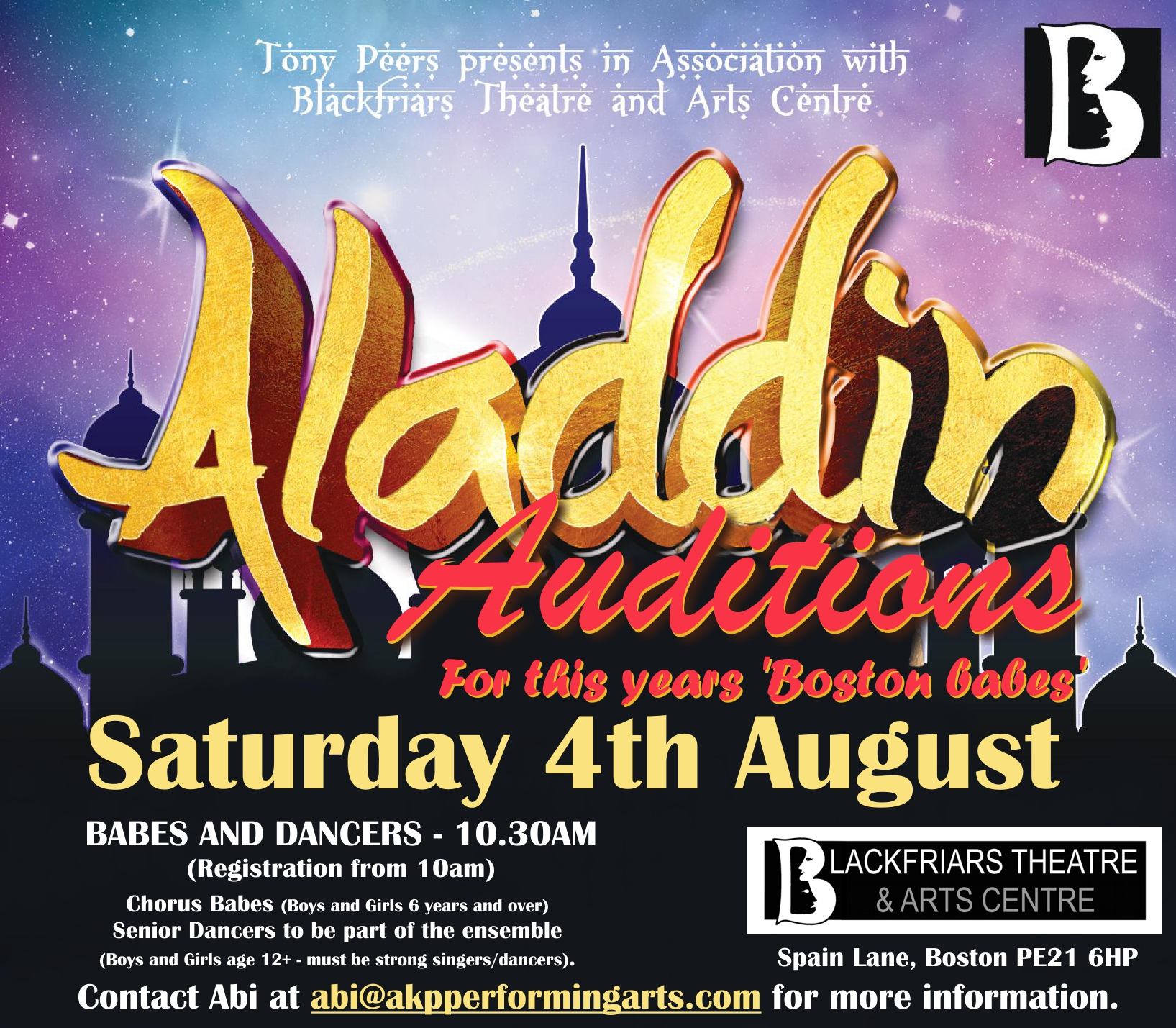 Aladdin Auditions for Boston Babes taking place on Saturday 4th August