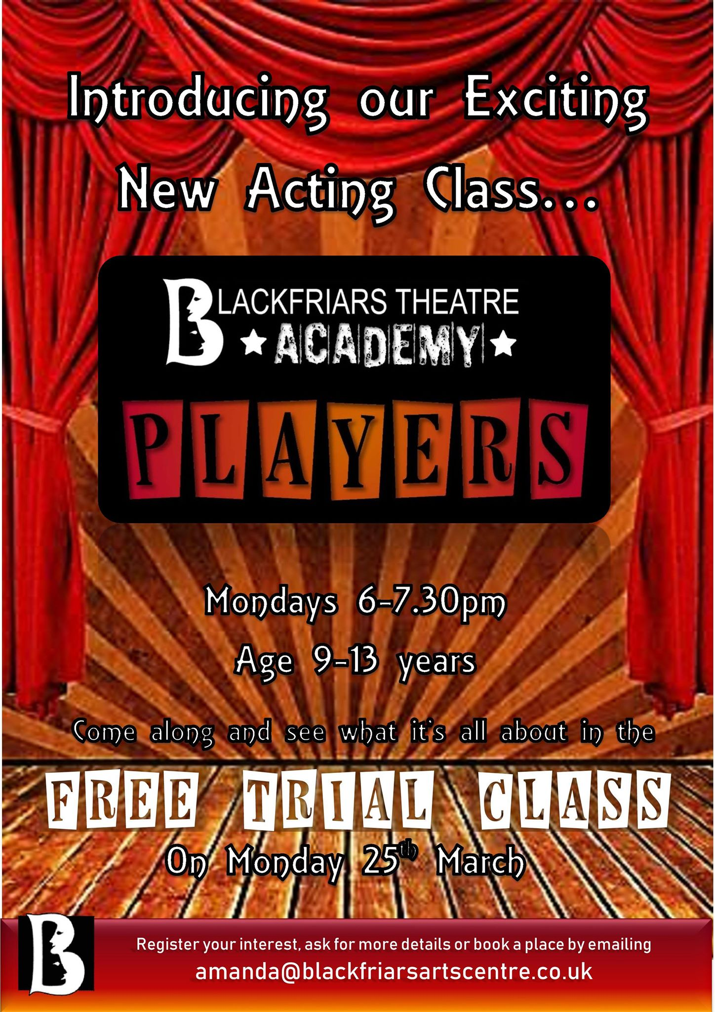 New acting class for Blackfriars Theatre Academy!